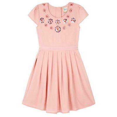 Yumi Girl pink Sparkle Flower Party Dress   Debenhams