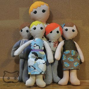 """Custom Doll Family: 1 Adult + Kids cloth dolls, custom personalized keepsake doll - My specialty is making custom keepsake dolls to your specifications. Each of my dolls starts out with a basic pattern, but the details are entirely up to you! This listing is for a customized doll family including 1 parent (approx. 18"""" tall) and up to 4 children (approx. 13"""" tall)."""