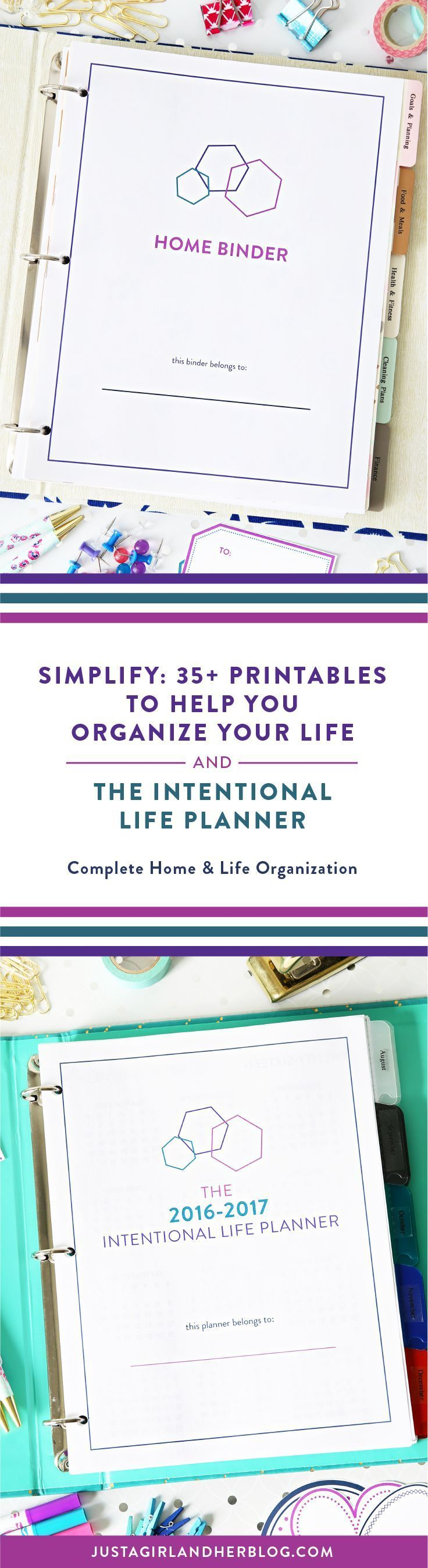 Getting organized and finding time to accomplish your biggest goals is challenging. That's why I created Simplify (my printable home binder) and The Intentional Life Planner as a complete home and life organization system. My goal was to create an easy-to-use process for maximizing my time, organizing my home, life, and business, as well as staying focused on my most important goals. It works! This is the same system I personally use to run a successful business as well as manage my busy fam