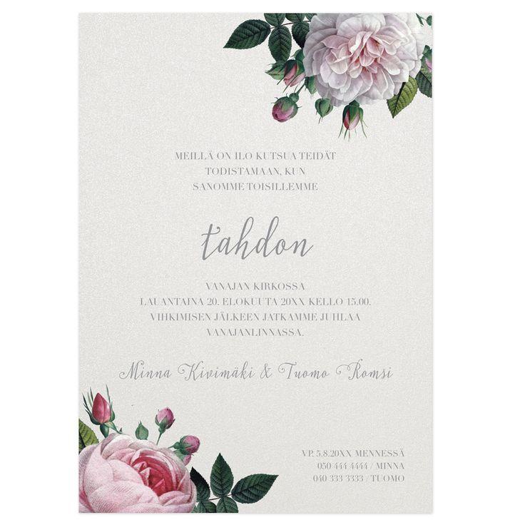 Garden Dreams, hääkutsu Calligraphenin Now&Forever-mallisto http://www.calligraphen.fi/fi/artiklar/garden-dreams-kutsukortti.html