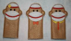 Sale Price!   ONE HOOPING Sock Monkey Family Finger Puppets Embroidery Machine Design for the 5x7 hoop