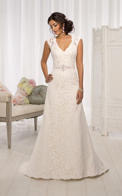 For the bride looking for elegant wedding dresses, this gorgeous Lace over Dolce Satin A Line cap sleeve wedding dress from the Essense of Australia collection proves to be the perfect choice. (Style D1598)