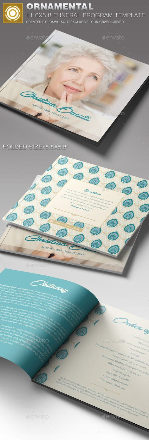 Ornamental Funeral Program Template - Informational Brochures