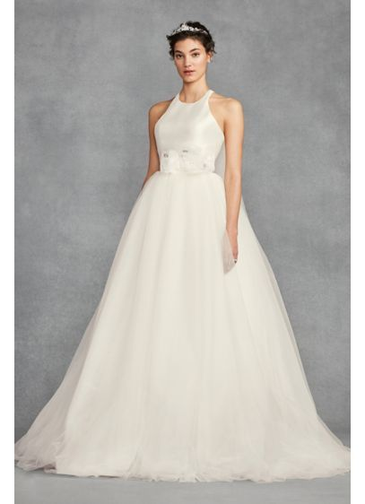 2847937bd789c White by Vera Wang Bow-Back Halter Wedding Dress Style VW351419 ...