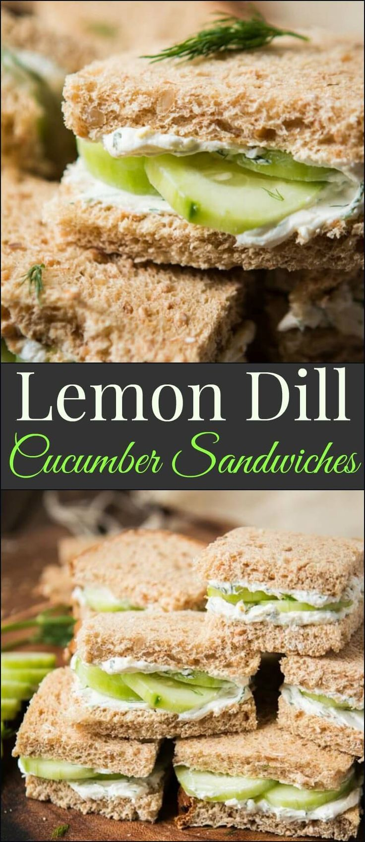 #dontbebland! The best lemon dill cucumber sandwiches I've ever had added a touch of Greek yogurt to the spread. Try this awesome tea sandwich recipe at your next party! /eurekabread/ #eurekabread #ad http://ohsweetbasil.com