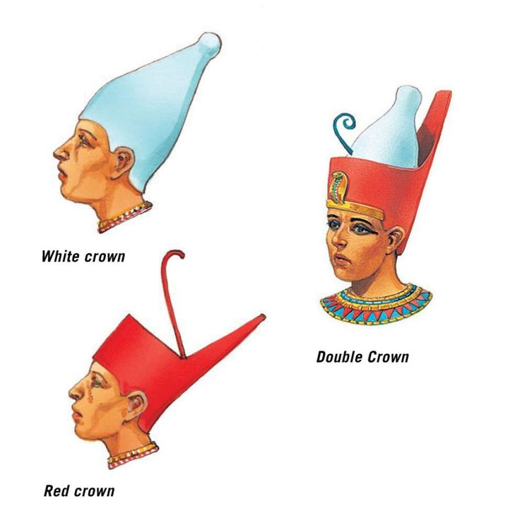 Egypt traditionally has two crowns, the hedjet of Upper Egypt, and the deshret…