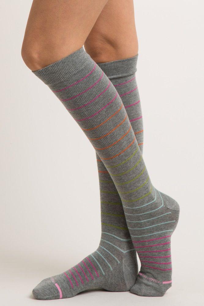5523e9e580b446 Grey Striped Knee High Compression Socks in 2019 | Pregos/Nursing ...