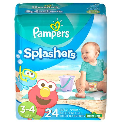 Your little one can have fun in the water while wearing the Pampers Splashers Disposable Swim Pants Size 3 - 4, 24 Count. These swim diapers don't swell up in water and feature super-stretchy sides for a snug fit and double leg cuffs to help protect against leaks. The Dora and Diego designs are great for boys and girls. Recommended weight: 16 - 34 pounds.<br><br>With Pampers Splashers Swim Pants, your child is free to make a splash! Pampers Splashers Swim Pants fit your child ...