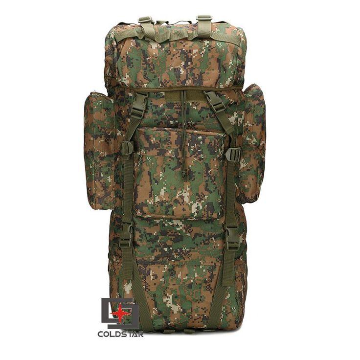 Woodland Digital ACU CP Camouflage 65L Nylon Fabric Waterproof Backpacks Solid Color Adjustable Shoulder Straps Big Climbing bag