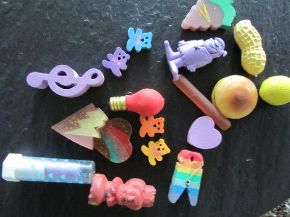 18 1980's vintage eraser collection by RememberDottye on Etsy, $15.00