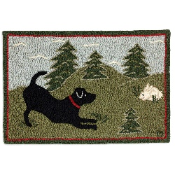 Chandler Festive Field Black Labrador Dog Rug - Hooked in New Zealand Wool.  On sale in our clearance section now!