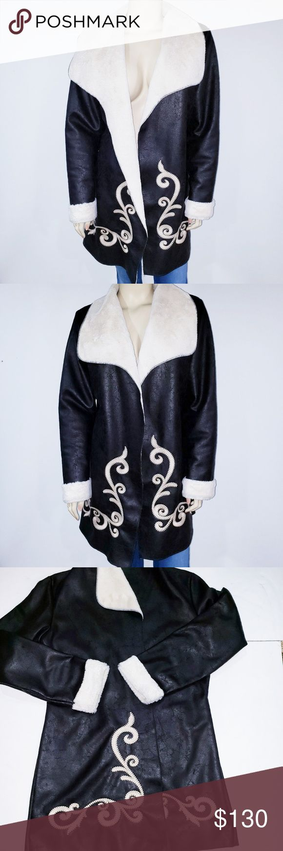 Ariat Cowgirl Faux Leather Coat Jacket Large Brown