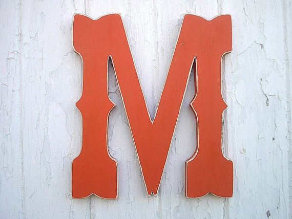 "Rustic Shabby chic Letter M 12"" Western Cowboy Style Kids Wall Art Nursery decor orange cabin decor dorm letter Gifts"