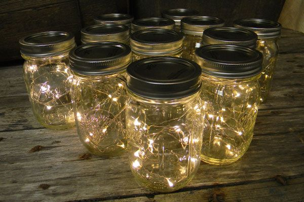 Create the appearance of fireflies in a jar with this unique light display that creatively combines a strand of warm white battery operated LED fairy lights and a Mason jar. Simply feed the light strand through the mouth of the jar and tape the compact battery pack to the bottom of the lid and for  a beautiful light display suitable for weddings, events and home décor. Display them as centerpieces, pathway lighting, or hang them from shepherd hooks, branches, or ceilings.