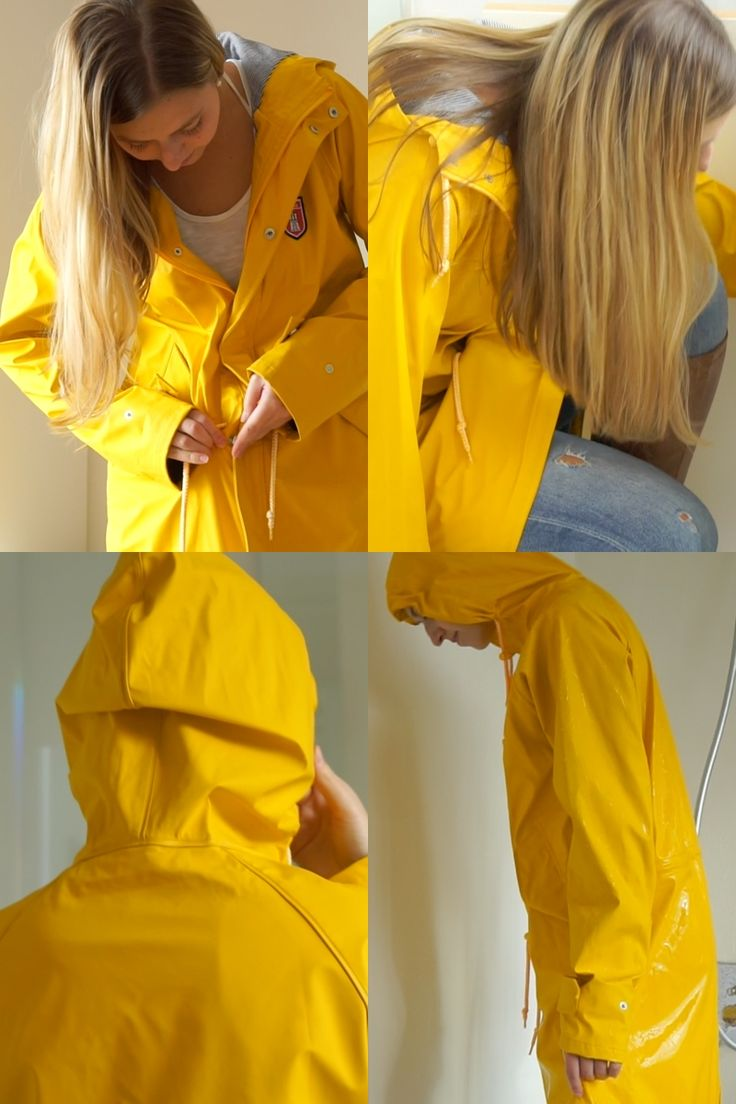 06:22 min of movie on https://www.sexyrainwear.online: Johanna in casual style with Jeans and leather boots testing her most recent raincoat haul – a yellow Derbe Friesennerz. And it even keeps her dry in the shower… at least her upper body…