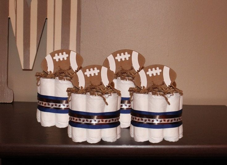 Set of 4 Football Theme Mini Diaper Cakes for a Sport Themed Baby Shower. Baby Shower Gift or Centerpiece. Decorations. Welcome Gift. by PAMPartyHomeDesignCo on Etsy