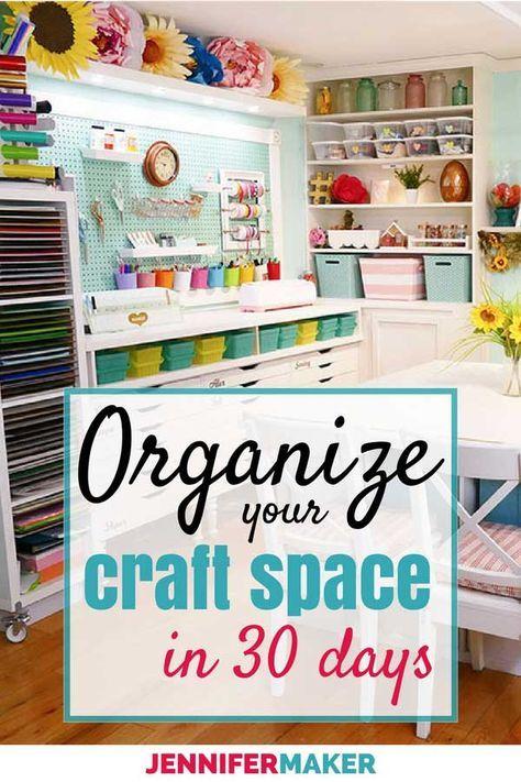 Organized Craft Room 30 Day Challenge Sewing Pinterest Craft