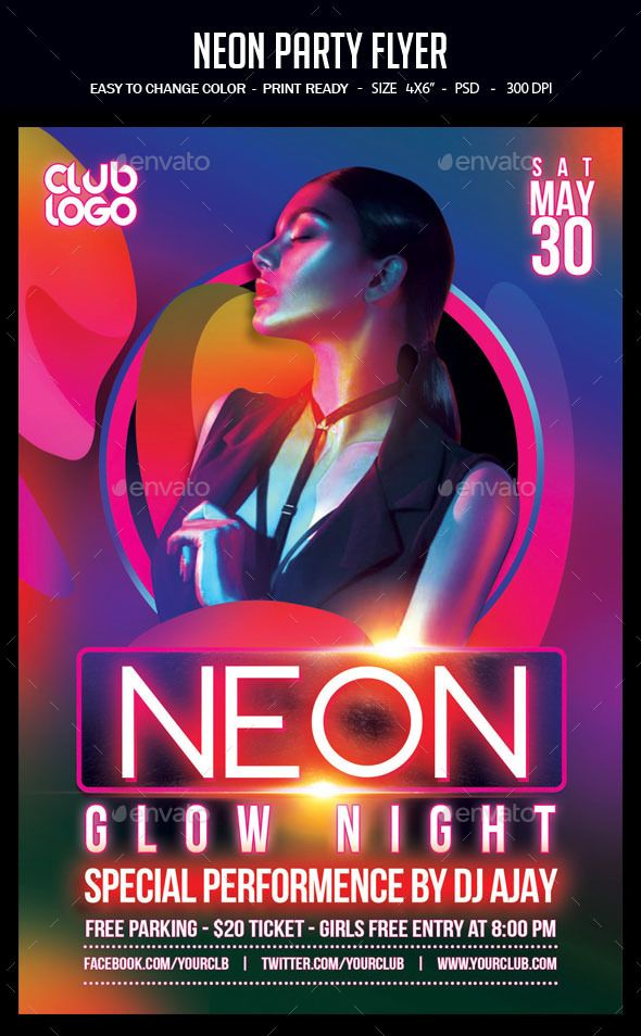 neon party flyer clubs parties events a unique party flyer