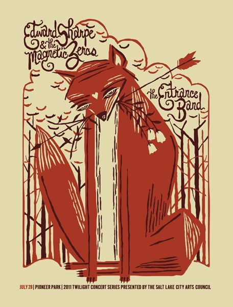 Edward Sharpe & The Magnetic Zeros gig poster by Furturtle Printworks