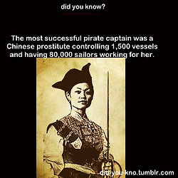 She got married to an already successful pirate, Zheng Yi, and took over when he died. She was strict to keep an iron fist over her fleet of pirates, and the punishments for stepping out of line were brutal.  Two years after she took over, she got so notorious for ransacking towns and taking taxes on them that the Chinese government...