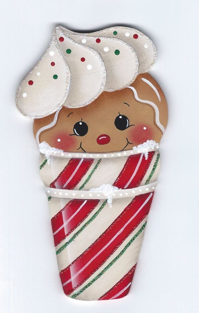 HP GINGERBREAD Candy Cone FRIDGE MAGNET #Handpainted