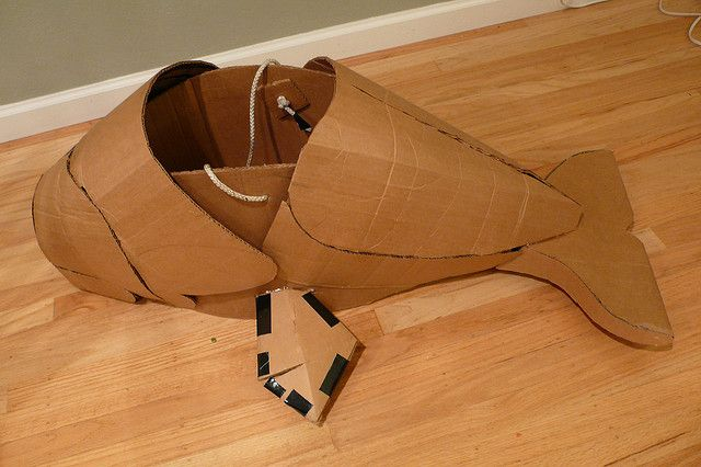 Cardboard Whale Costume. It might be a bit more professional than fish on each side.