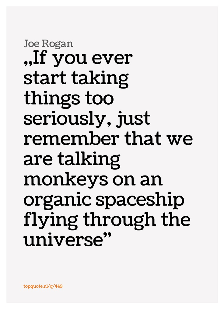 If you ever start taking things too seriously, just remember that we are talking monkeys on an organic spaceship flying through the universe - Joe Rogan