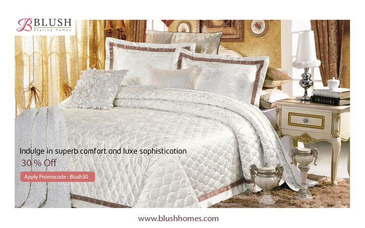 Sublime comfort and timeless elegance are perfected in our Jacquard bedding collection!  Bring a graceful elegance to your bedroom with the intricate hemstitching that adorns each exquisite collection piece. To bag these timeless collections at a whopping 30% off log onto www.blushhomes.com & apply promo code BLUSH30.