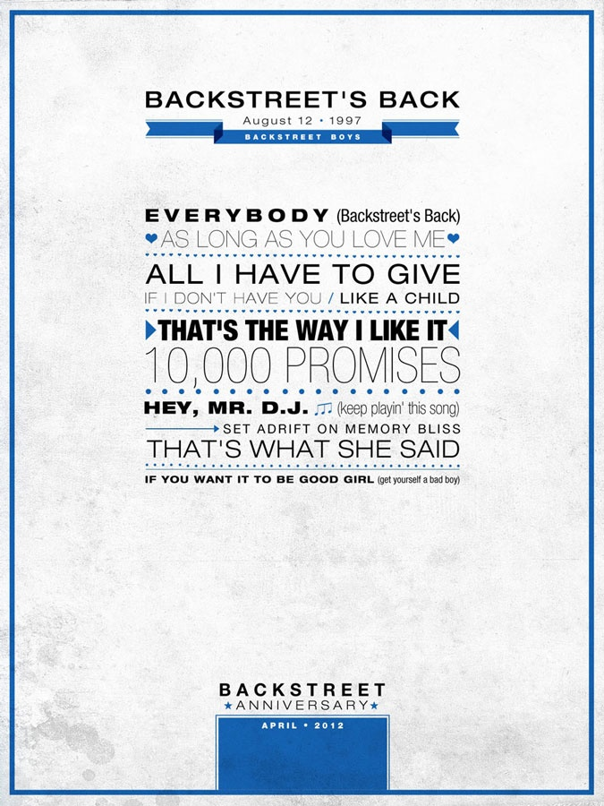 """Backstreet´s Back"" Poster Backstreet Anniversary - #type #poster #backstreetboys #bsb"