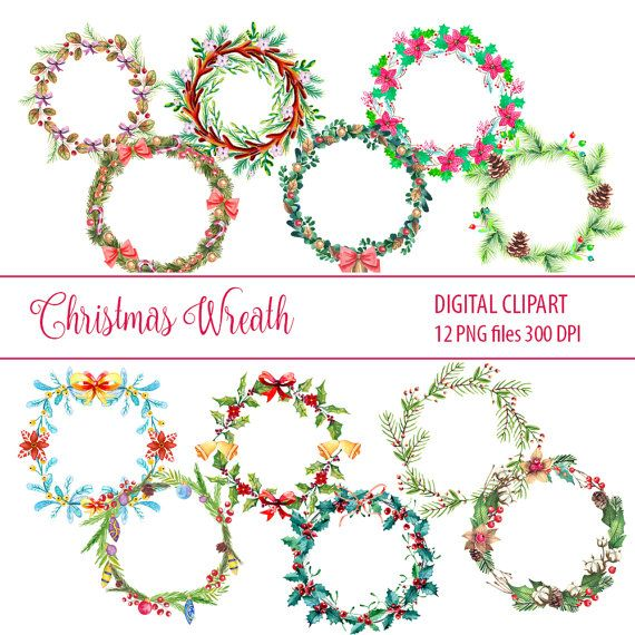 Christmas wreath clipart Christmas Watercolor Clipart by DigiPPP