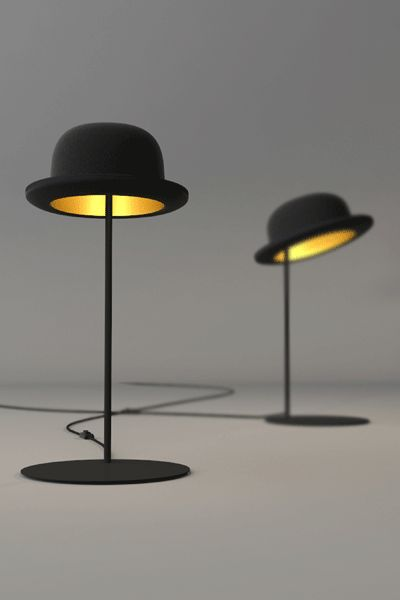 Lighting for Gala, ...sweet!  Bowler Hat Lamps... definitely a touch of surrealism! #lighting #hats #lamp
