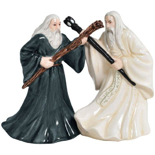 Westland Giftware's Gandalf and Saruman Salt & Pepper Shaker Set is made of ceramic and is based on the characters from The Lord of the Rings movie. Each shaker has a magnetic insert which holds the two pieces together. Westland Giftware is a leading manufacturer of quality collectible gift and home decor items.