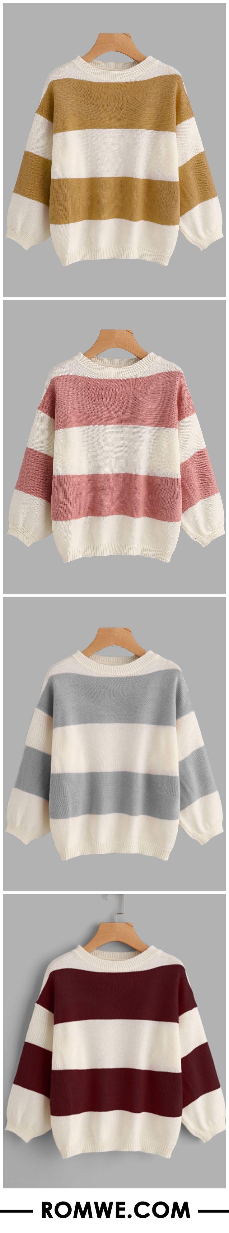 Drop Shoulder Wide Striped Sweater