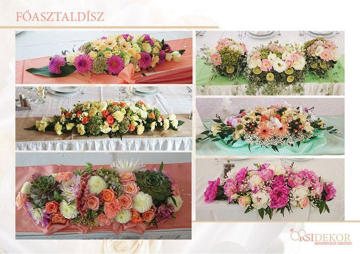 Virágos főasztaldíszek esküvőre az Orsi Dekortól