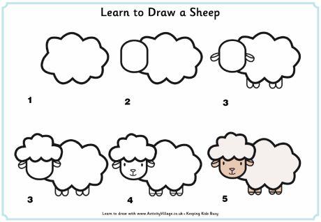 kids learn how to draw a sheep | crafts & creativity. Basteln & Kreativität . bricolage & creativité | @ Activity village |