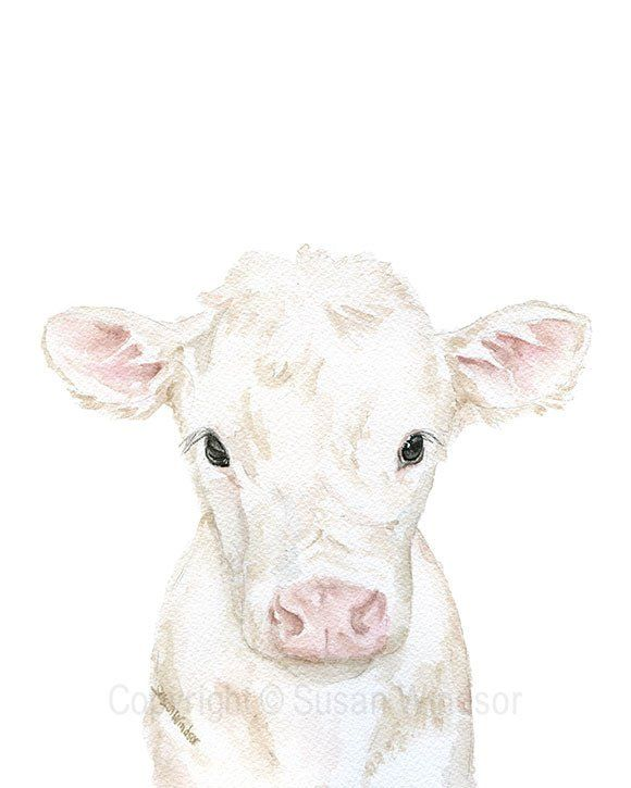 White Calf watercolor giclée reproduction. PORTRAIT/vertical orientation, this sweet little cow is peeking up from the bottom of the frame to say hello! Perfect for the nursery or farmhouse decor. (fr