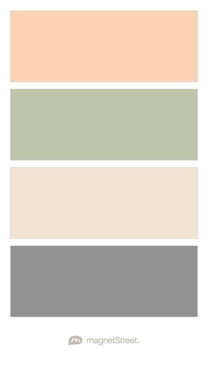 Peach, Sage, Champagne, and Classic Gray Wedding Color Palette - custom color palette created at MagnetStreet.com