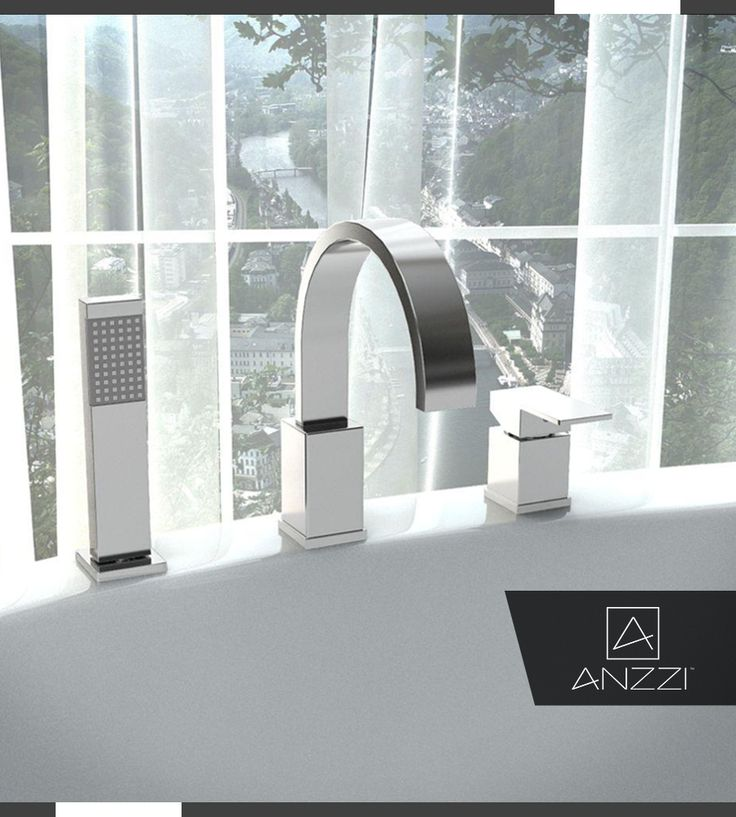 anzzi nite series single handle deck mount roman tub faucet with handheld sprayer in polished chrome - Bathroom Accessories Miami