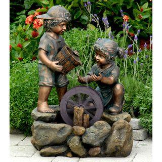 Bronze-painted Children Outdoor/ Indoor Water Fountain