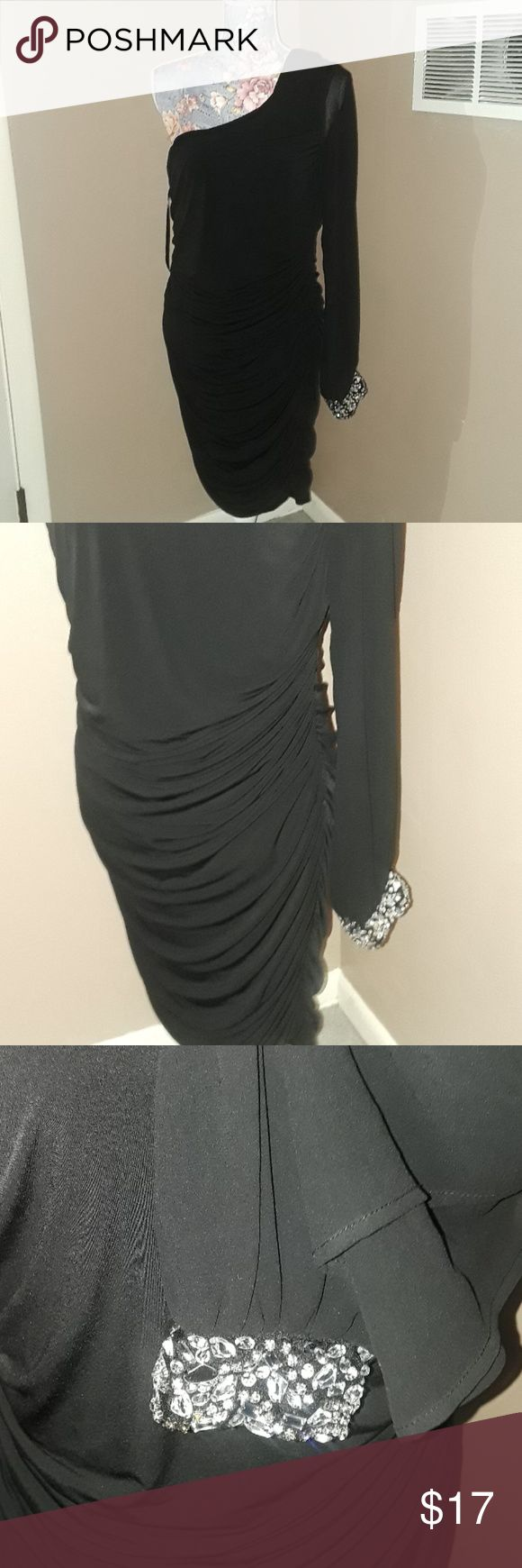 Deb Shops One Shoulder Black Accented Cuff Dress Deb brand  Size 1x Deb Dresses