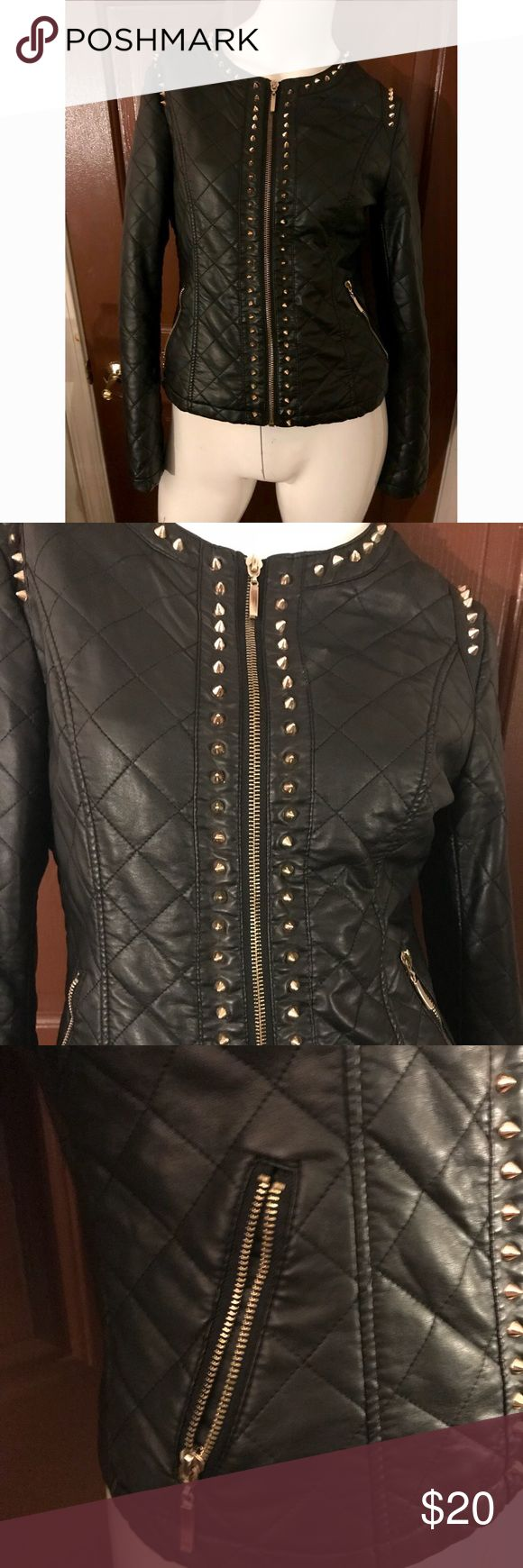 Forever 21 Black Faux Leather Jacket In excellent condition. Golf Spiked Faux Leather. Zip up. Two pockets. Forever 21 Jackets & Coats