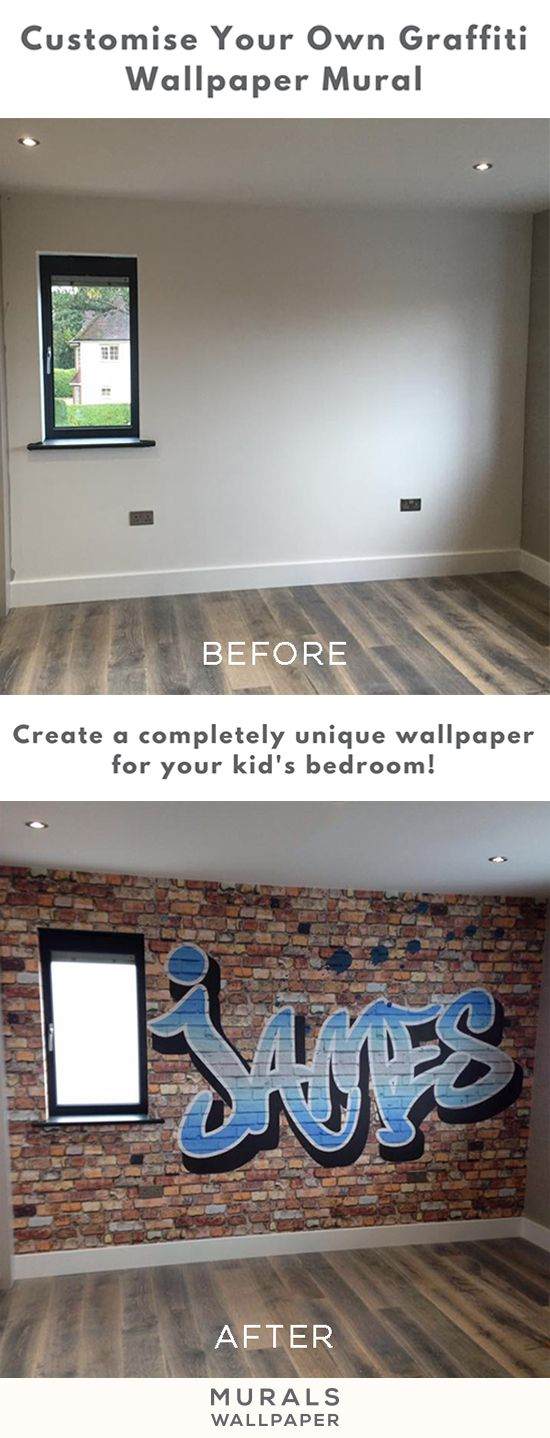 Love this room transformation? This personalised graffiti wallpaper can be customised by text, colour and background! This before and after shows what a difference it can make to your home. Put a smile on your kid's face with this custom wallpaper design.
