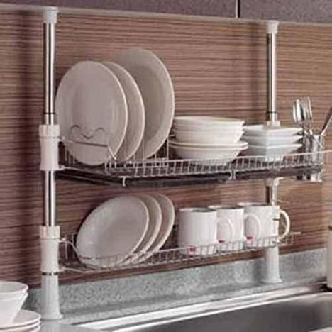 $160 Sears - Asia Column Style Sink Rack Two Tier 600 Shelf Liner Dish Holder Asia Column Style Sink Rack Two Tier 600 Shelf Liner Dish Holder