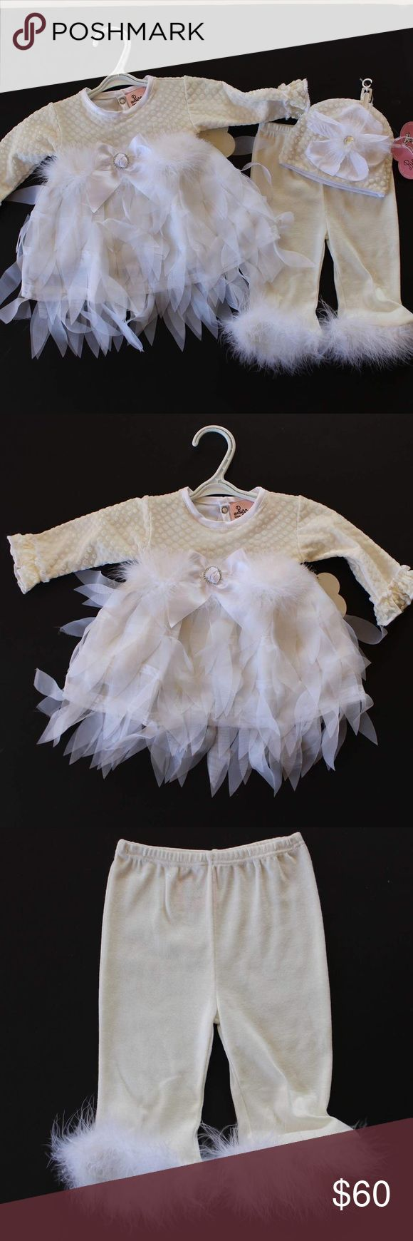 3 piece white Swan Lake outfit All white with feathers tulle and maribou.. shirt with polkadot velour, adorned with satin now with rhinestone buckle, layered tulle and feathers with maribou belt. Stretch pants with maribou around ankles, matching hat with flower, rhinestone and  feathers. Brand new with tags from children's boutique ... perfect change into outfit for Baptism or snow-white holiday outfit! Purrfect  Matching Sets