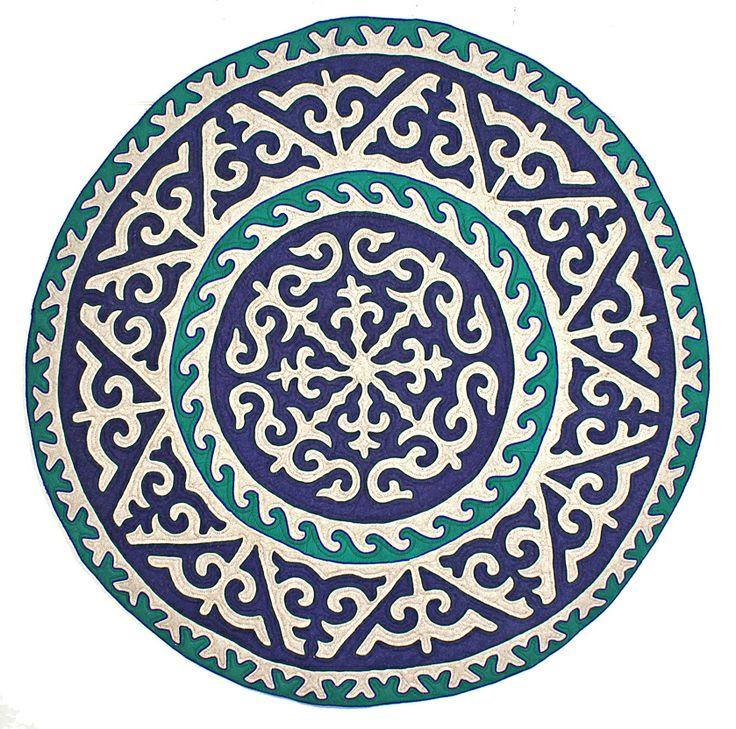 Circular Shyrdak rug from Felt in navy blue, turquoise and white, 2m diameter feltrugs.co.uk