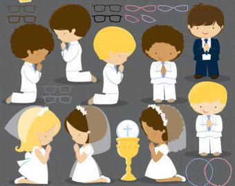 First Communion Clipart for Girls. Communion characters by MUJKA