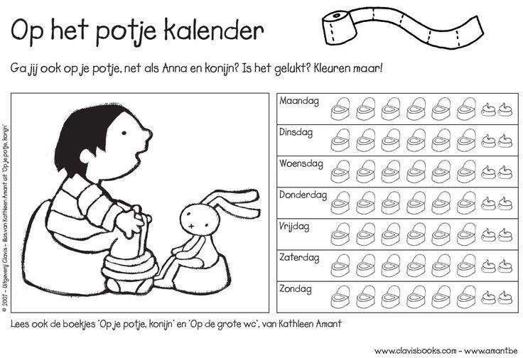 Op het potje kalender! Illustraties uit het boekje Op je potje, Konijn van Kathleen Amant:  http://clavisbooks.com/book/op-je-potje-konijn