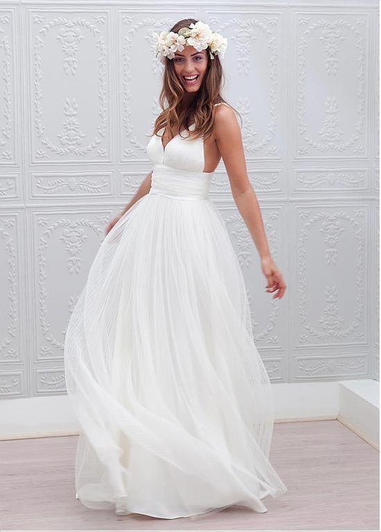 Chic Tulle Spaghetti Straps Neckline A-line Wedding Dresses