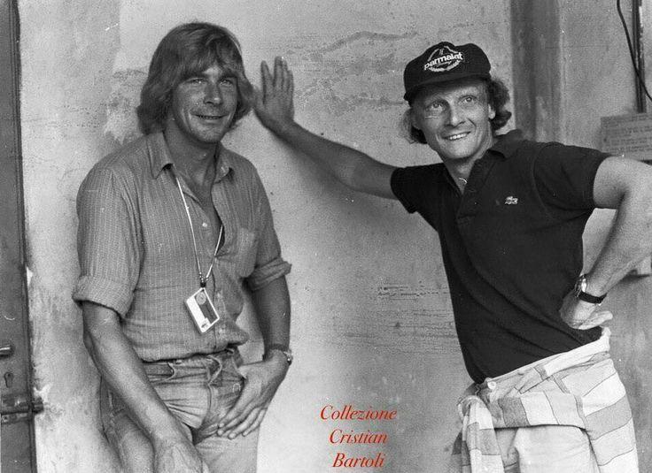 Niki Lauda e James Hunt circa 1979