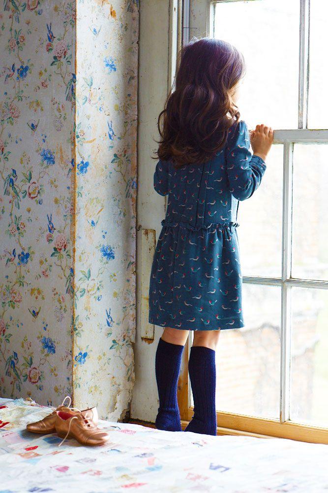 Girls bird print dress at www.mariechantal.com